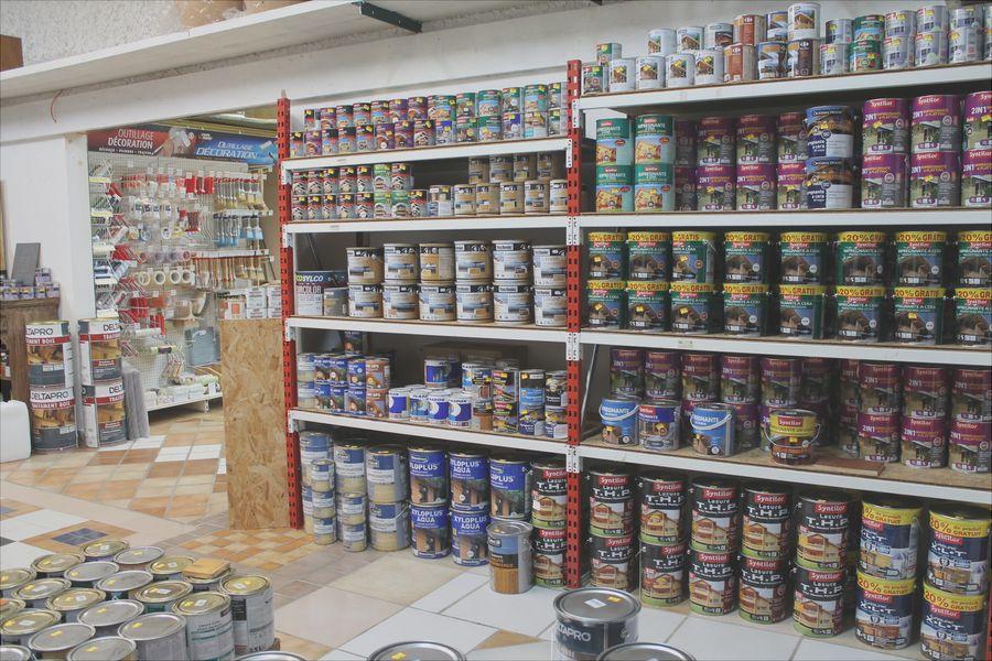 pots de peinture professionnelle en rayon magasin senicolor Lyon